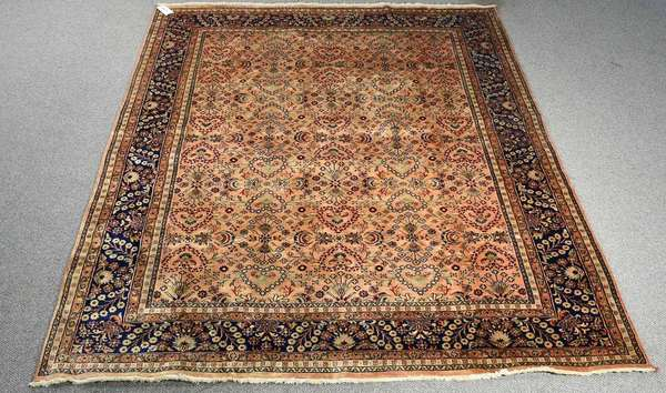 "ORIENTAL ROOM SIZE RUG. Lustrous soft colors, contemporary hand made wool rug. 7'4"" x 9'4"".Condition: overall very good condition."