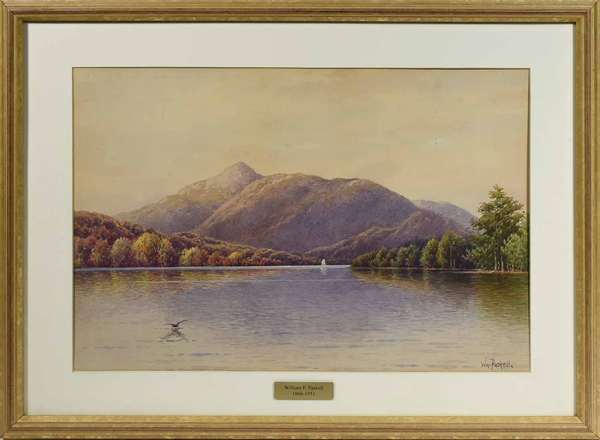 "WILLIAM PASKEL, EARLY 20TH C., WC, N.H. LANDSCAPE. Signed ""Wm. Paskell"" l.r., sight 13 1/2"" x 19 1/4"", frame 19 1/2"" x 25 1/2"".   Condition: Not examined out of frame. In overall good condition, very light spotting and toning throughout, small light puncture u.r. sky region."