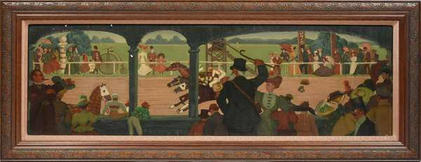 "MAITLAND GRAVES, 1937, O/B, HORSE RACE AT SARATOGA. Signed and dated ""Maitland Graves 1937"" l.c., 12"" x 36"", frame 16 3/4"" x 40 1/2"".   Condition: Examined under LED and UV light. In overall good condition. Aged varnish throughout. The u.l. edge and column with three small flaked losses. Each of the center columns with some inpainting and small area of inpainting l.r. corner."