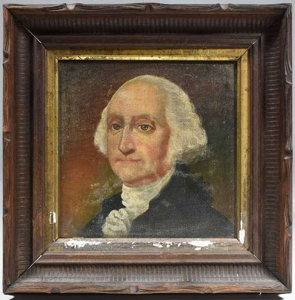 "EARLY 19TH C., O/C, PORTRAIT OF GEORGE WASHINGTON. American School, appears to retain period stretcher and frame. Canvas unlined 8 1/2"" x 8 1/2"", frame 13"" x 13"".   Condition: Examined under LED and UV light. Aged varnish craquelure throughout. Some ingrained dirt and severe varnish blooms. The u.r corner with a raised point due to contact with the stretcher."