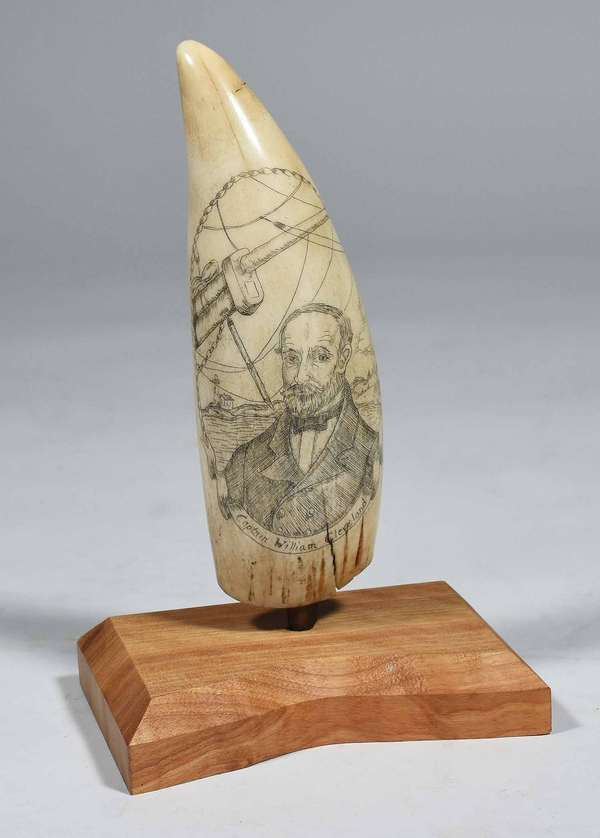 "19TH C. SCRIMSHAW TOOTH, CAPTAIN WM. CLEVELAND. Double-sided scrimshaw decorated inscribed sperm whale tooth, ca. 1850, showing detailed portrait of Captain William Cleveland, the reverse with Whaling Bark, Morning Star, 7"" H x 2 1/4"" W Condition: cracking at base on both sides, approx 1 1/2"" each."