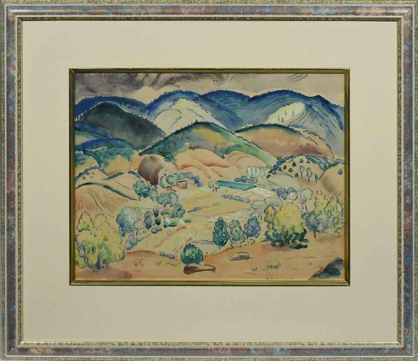 "ALICE SCHILLE, CA. 1920-40, W/C, SANGRE DE CRISTO MT. RANGE, NM. Signed ""A. SCHILLE"" l.r. Family records note that this painting is of the Sangre de Cristo mountains from Helene Wurlitzer's home in Taos, NM. The Sangre de Cristo mountains are the southernmost subrange of the Rocky Mountains, running from south central Colorado into northern New Mexico. The second peak from the left on recto contains a pencil inscription ""Emery"". Emery Peak is a 7,322 ft. mountain northeast of the Sangre de Cristo range. Sight 10 1/2"" x 13 1/2"", frame 18 3/4"" x 21"".   Condition: examined out of frame and paper is applied to card stock (see images)  appears in overall very good condition with nicely aged toning throughout."