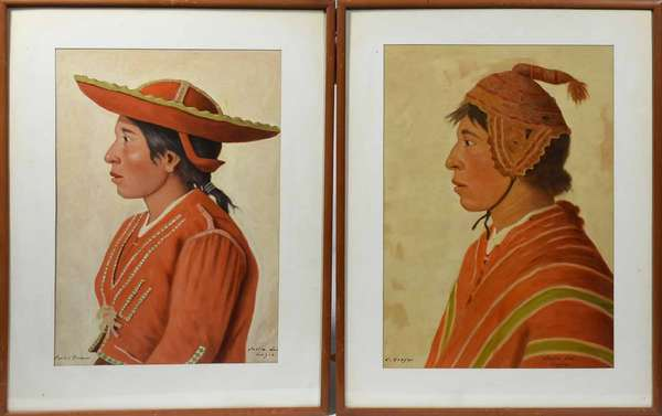 "CARLOS DREYER, EARLY 20TH C., O/B, TWO PORTRAITS OF PERUVIAN INDIANS. Each signed ""C. Dreyer"" and ""Carlos Dreyer"" l.l. and titled ""India del Luzon"" l.r. The woman 16 3/4"" x 12 1/8"", the man 17 3/4"" x 12 3/4"". Each in matching frames 19 3/4"" x 15"". A similar example was sold at Christie's London, sale #2362, 9/28/2011, lot 266.   Condition: Examined out of frame and under UV and LED lights. The woman in very good condition. The board with a very slight buckle l.c. (hardly perceivable). The man with yellowing and aged varnish with evidence of heat exposure throughout. It is advised that this be inspected in person."