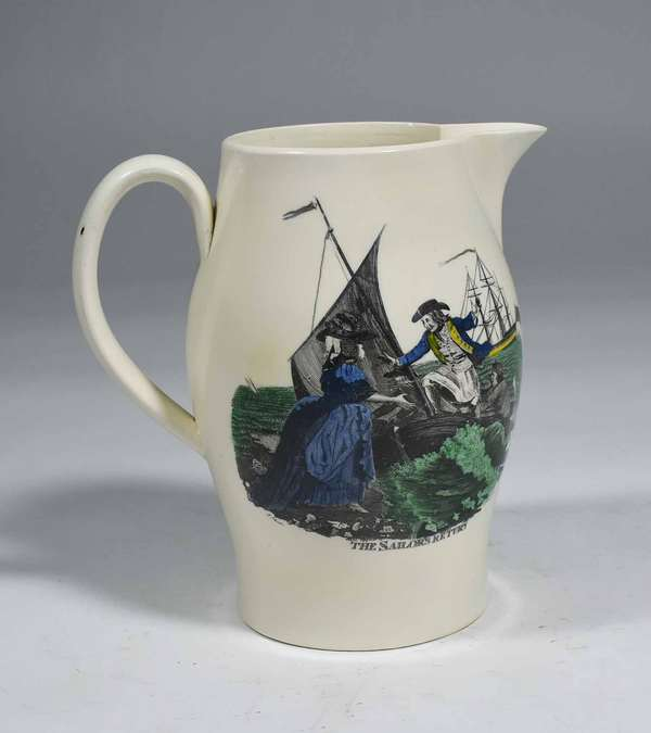 "LIVERPOOL JUG 'THE SAILORS RETURN'. An early handled pitcher with polychrome transfer decorations, 'The Sailors Return' and 'Parting Wishes', 8"" H X 7 1/2"" W. Condition: small exterior chip on spout, small inner rim chip on top, some scratching/rubbing on transfers."