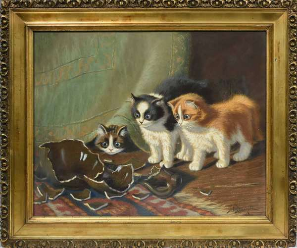 "SIDNEY BRACKETT, LATE 19TH C., PASTEL, ""NAUGHTY KITTENS"". Signed ""Sid Brackett"" l.r., 16"" x 20"", frame 20 1/4"" x 24 1/4"".   Condition: Not examined out of frame; examined under UV and LED light. In overall very good condition with fine detail, no issues detected."