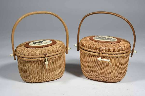 "TWO NANTUCKET PURSE BASKETS, FARNUM & OTHER. Farnum example with scrimshaw harbor scene signed ""Chase"", 7 1/2"" H x 9"" W x 7 1/2"" D (basket only). The other with a scrimshaw plaque of horse , 6 3/4"" H x 8 1/4"" W X 7"" D (basket only) both 12 1/2"" H overall. Condition: Farnum, good overall order, leather hinges pull lid towards the back; un-signed example in overall good order, some fading."