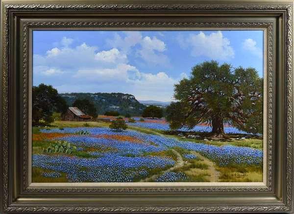 "WILLIAM SLAUGHTER, LATE 20TH C., O/C, TEXAS BLUE BONNETS. Signed ""W.A. Slaughter"" l.r., 24"" x 36"", frame 33"" x 45"". William Slaughter (1923-2003) was a Lutheran pastor and WWII United States Air Force veteran, who, upon his travels with the ministry in Texas and Mexico, began his career as a prodigious self-taught painter, depicting a wide-range of western subjects. Texas blue bonnets is perhaps his most popular subject matter, exhibiting the artist's meticulous process and innate ability to create highly vibrant and dimensional realist landscapes.   Condition: Examined under UV and LED lights. In overall very good condition with a multitude of textures. The large cotton wood c.r. with very fine light craquelure."