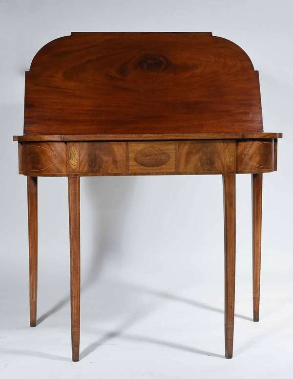 "AMERICAN FEDERAL INLAID MAHOGANY CARD TABLE, CA. 1800. The rectangular top with ovolo ends, conforming apron decorated with ovals and floral inlays on green painted ground, line inlaid tapering legs ending with a cross banded cuff, 29 1/4"" H x 18"" D x 35"" L. Condition: structurally very good, no hinge breaks, top lies flat, single swing leg good, some sun fading to apron, top boards with rich mahogany."