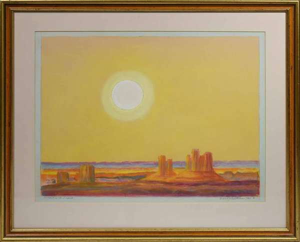 "EMIL BISTTRAM, 1972, PASTEL, ""SUNSET ON THE DESERT"".Titled, signed , and dated ""Sunset on the Desert / Emil J Bisttram TAOS 72"" in lower margin. Sight 15"" x 19"", frame 21 1/4"" x 24 3/4"". Born in Hungary, Emil Bisttram became a prominent painter in the Southwest, who founded the Transcendental Art movement in New Mexico. Sunset on the Desert exemplifies the mission of this artistic style to stimulate other sensations through visual form and color. The white sun and jasper-yellow sky over the burnt orange bluffs and varying purple hues in the foreground and distance evokes the feeling of dry air both hot and cold as well as the buzzing sounds associated with the American southwest desert.   Condition: Not examined out of frame, examined under UV and LED lights. The reverse with Owings-Dewey Fine Art and Alterman Galleries, Canyon Road, Santa Fe, NM labels, this pastel is in overall very good condition with no issues detected."
