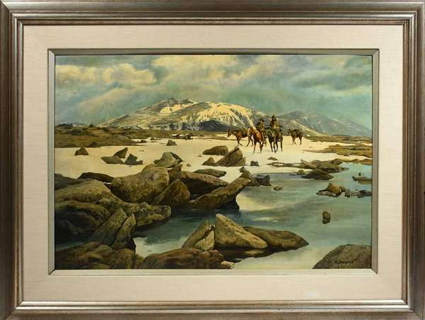 """WILLIAM BURLINGAME, MID-LATE 20TH C., O/B, """"ACROSS THE DIVIDE"""". Signed """"Will Burlingame"""" l.l., the reverse with gallery label denoting the artist and title. The masonite board 20"""" x 30"""", frame 30"""" x 40"""".   Condition: Examined under UV and LED lights. In overall very good condition with a subtle and interesting mix of actual and perceived textures (notably the rocks and river in the foreground). Yellowed varnish throughout, most likely intentionally implemented by the artist for antiquated/rustic effect. Very faint hairline abrasions only detectable in raking light c.l. Minuscule paint chip top center edge due to contact with frame fastener."""