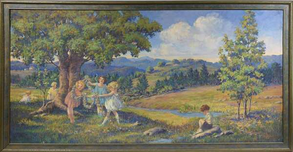"R. DON DEROT, 1925, O/C, CHILDREN PLAYING IN SUMMER. American School, signed ""R / Don DEROT / 1925"" l.r. Exhibition size impressionist landscape, canvas unlined 29"" x 56"", frame 32 1/2"" x 59 3/4"".   Condition: Examined under LED and UV light. In overall very good condition with bright hues. The edges with frame abrasions recto and some creasing due to stretcher abrasion. Very fine spotting due to exposure to moisture, only detectable under black light. The center background mountain with a small professional repair and inpainting (4"" u.r. diagonal from blonde girl's head). Minor abrasion l.l. and some inpainting u.r. corner. Canvas unlined."