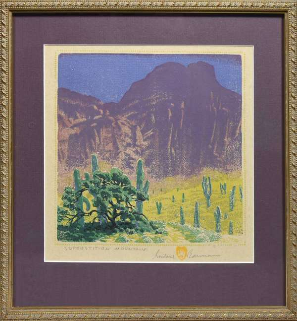 "GUSTAVE BAUMANN, CA. 1949, WOODCUT ""SUPERSTITION MOUNTAIN"", # 4/125. Titled, signed, numbered, and dated ""SUPERSTITION MOUNTAIN / Gustave Baumann / E 4 125 / 49"" in pencil lower margin. Sight 9"" x 9"", frame 13 1/2"" x 12 3/4"".  Condition: examined out of frame and appears in overall very good condition with no issues detected."