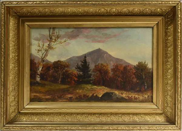 "LATE 19TH C., O/C, NH MOUNTAIN LANDSCAPE. White Mountain school, appears to retain period frame, stretcher, and keys. Canvas unlined 8"" x 12 1/2"", frame 12 3/4"" x 17 1/4"".   Condition: Examined under LED and UV light. In overall very good condition with no evidence of restoration or repairs. Light aged varnish throughout commensurate with age and the u.l. sky region with evidence of mild exposure to moisture. Canvas unlined."