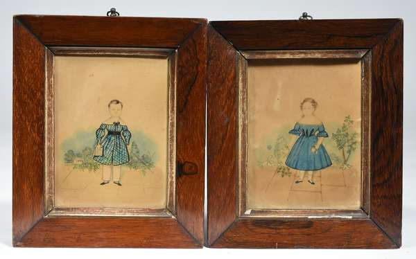 "PAIR OF EARLY 19TH C. AMERICAN SCHOOL WC PORTRAITS. The girl in a blue dress holding flowers and a toy, standing on a garden patio, 6"" x 4 3/4""; the boy in a blue checkered coat holding a riding whip and a book, standing on a garden patio with a house in the distance, 6 1/4"" x 4 1/2"".   Condition: Not examined out of frames. Severe toning, fading of the faces, negligible spotting."