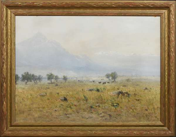 """HARVEY YOUNG, 1899, O/B, SAN LUIS PARK, BLANCA PEAK, COLORADO. Signed and dated """"Harvey Young"""" l.r., Image 28.50"""" x 39.25"""", Overall 36"""" x 46.5"""". Harvey Otis Young (1840-1901) was born in Lyndon, VT and became one of Colorado's leading 19th C. artists, known for his Rocky Mountain landscapes and mining scenes. He himself was attracted to mining, first for gold in California, and later for silver in Colorado. After earning and losing a fortune due to the Panic of 1893, he returned to painting, focusing on scenes along the Denver and Rio Grande Railroad. This scene of cows grazing in the San Luis Valley contains two prominent 14,000-foot mountains - Blanca Peak (left) Mt. Lindsey (right) - in the background. Blanca Peak is the highest mountain in the Sangre de Cristo range and is recognized for its stark relief and prominent position as an end-cap.  Condition: Some light scratches, dirt, two areas of cardboard tears along the top edge and one on l.r. edge due to frame abrasions"""