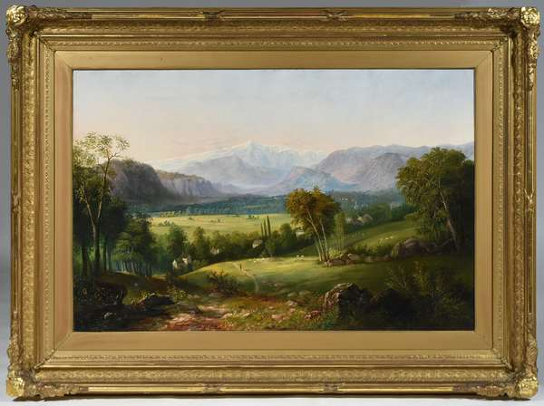 """MID 19TH C. O/C, WHITE MOUNTAIN SCHOOL, VIEW OF MOUNT WASHINGTON FROM NORTH CONWAY. Unsigned, period stretcher 29 3/4"""" x 46"""", housed in a period lemon gold carved wood and gesso frame 43 1/2"""" x 59 1/2"""".  Condition: Canvas relined. Very light craquelure, several in-painted repairs in the sky region and on the mountain peak. Some frame abrasion."""