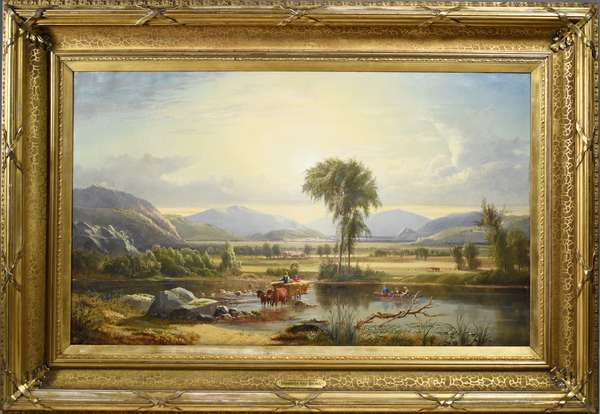 """HARRISON BIRD BROWN OIL ON CANVAS, CROSSING THE SACO RIVER, CIRCA 1861.  Painting depicts oxen pulled hay wagon crossing the Saco River in Maine with onlooking family in canoe with radiant landscape overlooking. Canvas 25""""H x 42""""W Frame 37.25""""H x 54""""W Condition: original canvas shows some light craquelure, back of canvas has foam core backing board attached to stretchers. No indication of repairs or in-painting under uv light. Period and likely original frame is in very good condition with minor abrasions."""