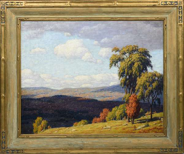 """ANDREW T. SCHWARTZ, EARLY 20TH C. O/C, SUMMER HILLSIDE LANDSCAPE. Signed """"Andrew T. Schwartz"""" l.r., 24"""" x 30"""", housed in a carved and gilt Art Nouveau frame 31 3/4"""" x 37 3/4"""".  Condition: Some light scattered in-painting, canvas is wax lined."""