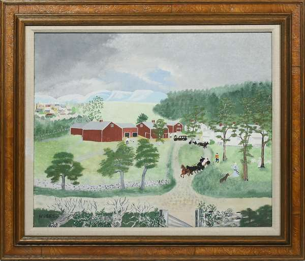 """ANNA MARY ROBERTSON 'GRANDMA' MOSES, 1944 GOUACHE, GRANDMA GOES TO THE CITY. Signed """"MOSES"""" l.l., the reverse with label containing photo and name of the artist, date, painting number, and title, as well as a Gallerie St. Etienne, New York label, 20 1/4"""" x 23 3/4"""", frame 26"""" x 30 1/4"""". Catalogue raissone number 443, M. 1037. Provenance: Sotheby's Parke-Bernet, Sale Number 1497, February 24, 1954, Lot 80; Sandra Werther Ltd.; Mr. and Mrs. W.R. Ballard, 1980; Lunds Auctions & Appraisal Specialists, Top Notch Auction, June 26, 2018, Lot 1.  Condition: Not examined out of frame. Very good, some craquelure in the sky u.r."""