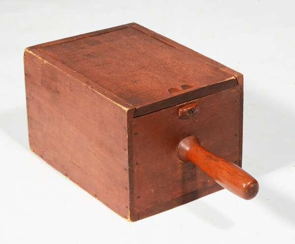 """SHAKER BALLOT BOX IN ORIGINAL RED STAIN. 13""""H x 6.5""""W x 5.5""""D.  Condition: some corner wear."""