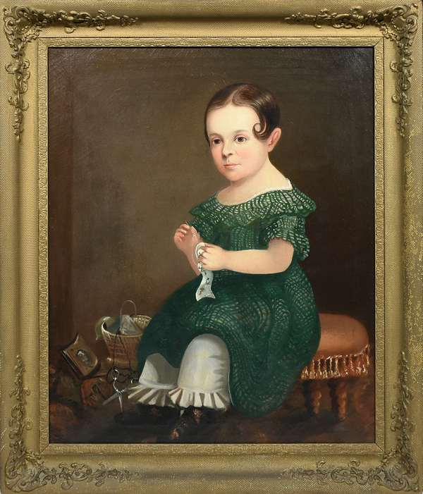"""19TH C. OIL ON CANVAS OF NANA  A. COLESWORTHY BY JOHN D CLOUDMAN. Sitter is holding a needle and thread and there are sewing supplies in a basket in the background.  Canvas 30""""H x 25""""W, framed 36""""H x 31""""W. Condition: Canvas has cracks but no loss, frame with later surface."""