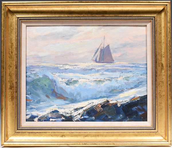 """EMILE GRUPPE, BASS ROCKS, OIL ON ARTIST BOARD: Colorful depiction of a sail boat at sunset, near Bass Rocks, in a lemon gold frame. Signed and titled on reverse """"Bass Rock's By Emile A. Gruppe #15"""". Image 16"""" x 20""""  Overall 23"""" x 28"""" Condition: good"""