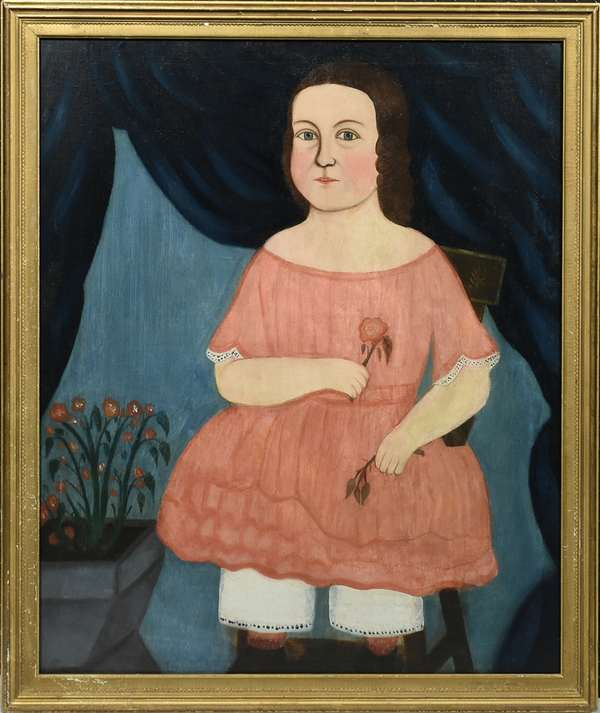 """19TH C. O/C, AMERICAN SCHOOL, YOUNG GIRL IN A PINK DRESS HOLDING FLOWERS. The young girl depicted in full length, seated, holding a flower blossom in right hand and a sprig in left, 31 1/4"""" x 26"""", frame 33 3/4"""" x 28 1/2"""".  Condition: Examined under UV light. Professionally restored with some scattered in-painting, re-stretched and relined with replaced stretcher. Some fine craquelure and areas of masking varnish.  Est. $1,000-$2,000"""