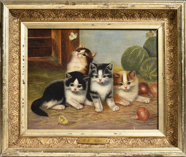 """C. BENTS, 19TH C. OIL ON CANVAS KITTENS: an adorable late 19th C. oil painting depicting kittens and butterflies, signed lower right 'C. P. Bents' in a period lemon gold frame.  canvas size 10"""" x 13"""". Condition: original dry canvas, overall good."""