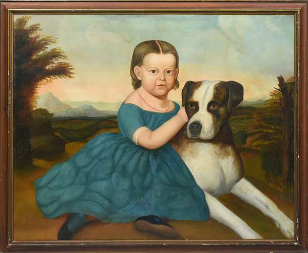"""19TH C. O/C, AMERICAN SCHOOL, YOUNG GIRL IN A BLUE DRESS WITH HER BOXER DOG. The girl depicted in full length wearing a blue dress with lace trim and a coral necklace, seated on the ground amidst a mountainous landscape, tenderly holding her dog; period strainer 29 1/2"""" x 36"""", frame 33"""" x 39"""". This 19th C. portrait contains several juxtaposing elements, seamlessly combined to exemplify true American class. The full length orientation, the child's elegant attire, and content disposition all indicate comfortable wealth; however, she is also depicted in a casual manner seated on the ground in a rugged landscape with an arm wrapped around her boxer dog, who, like her, is reclined and calm yet alert and poised. Both subjects reflect the American standard of confidence and strength without sacrificing elegance and control.  Condition: Relined. Craquelure and varnish throughout, under UV small areas of in-painting by the sitter's eye, boxer's neck, and above boxer's head."""