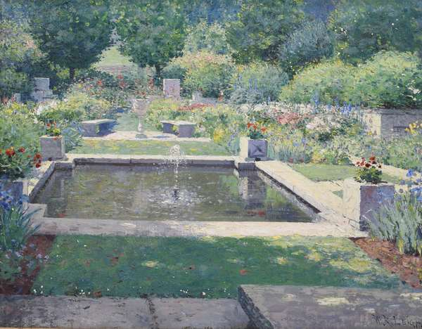 """WILLIAM ROBINSON LEIGH O/B FORMAL GARDEN SCENE: nice impressionist rendition of a lush formal garden with a fountain, signed lower right W.R. Leigh, in a period gold frame. Image 13"""" x 16.5"""", Overall  16"""" x 19.5"""". Condition: some light paint flaking in lower left center and upper right, in estate found condition"""