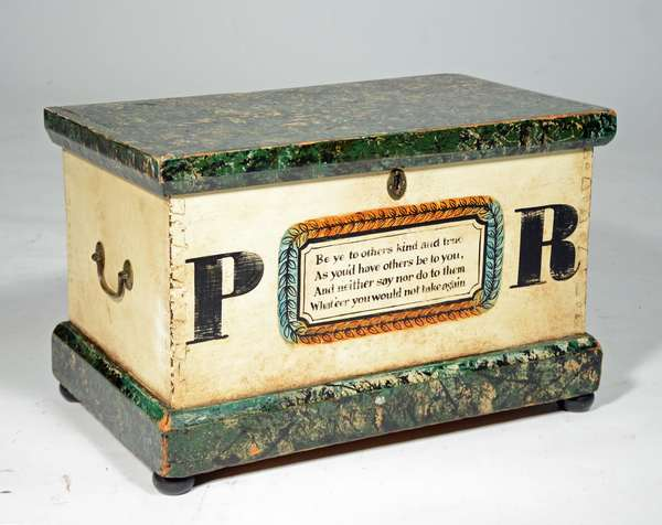 """19TH C. POLYCHROME PAINT DECORATED LIFT TOP BOX: dovetailed construction with molded lift top 2 early brass carrying handles and applied molded base on ball feet, verse """"Be ye to others kind and true As you would have others be to you And neither say or do them harm What'eer you would not take again"""", painted in colors of green, white, black and orange, 12""""H x 18.5""""W X 10.5""""D. Condition some paint wear fabric  straps broken."""