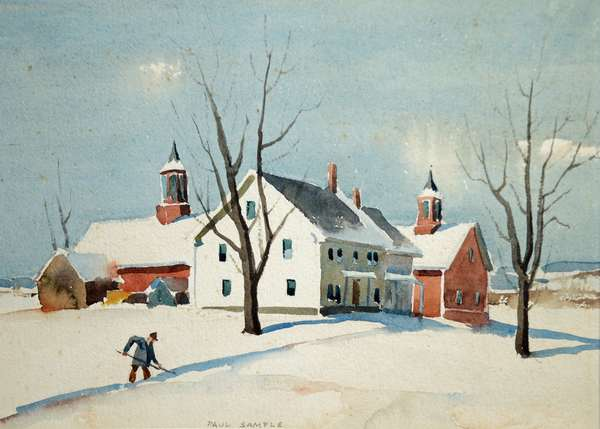 """PAUL SAMPLE, MID 20TH C. W/C, FAIR AND COLDER. Signed """"Paul Sample"""" l.c., titled on reverse, depicting a winter landscape with man shoveling in front of farmhouse and barn, 16"""" x 20"""", frame 19 1/2"""" x 23 1/2"""".  Condition: Not examined out of frame. Very good, some light foxing."""