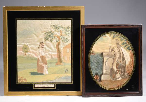 """TWO 19TH C. AMERICAN SCHOOL NEEDLEWORKS; two crewel work and watercolor paint decorated on silk examples: nautical theme with a woman waiting for ship's return holding an anchor, image in oval with an eglomise border in a wood frame, Image 12.5"""" x 10"""" Overall 16"""" x 14; depicting Ms. Clarissa Summer standing with her child, village in background, rectangular image with an eglomise border, Image 14.5"""" x 12"""" Overall 20.5"""" x 18.5"""" Condition: nautical has horizontal tears in silk and staining; mother/child has light staining."""