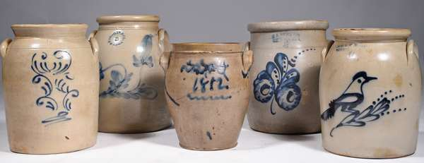 5 DECORATED STONEWARE CROCKS: all 19th C. Including a 1.5 gallon E & LP Norton Bennington with bird, Athens NY 2 gallon, F B Norton 2 gallon Worcester MA, another 1.5 gallon and an early 1812 example. Condition 1812 example with cracks, the other 4 with minor faking and nicks