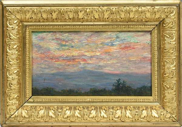 """CARROLL BUTLER BROWN OIL ON BOARD, LUMINOUS LANDSCAPE.  A composition depicting twilight, mountainscape with a red luminous sky.  Signed lower right, Carroll Brown.  4.5""""H x 8""""W.  Overall 8""""H x 11""""W.  Condition: Overall good, slightly dirty."""