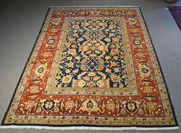 """CONTEMPORARY ORIENTAL ROOMSIZE RUG. 9' x 13'8"""" Condition: overall good condition."""