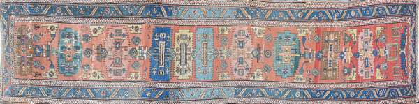 """ANTIQUE ORIENTAL HERIZ RUNNER. Brick colored field with original receipt, paid $15,000. 3'10"""" x 15'8"""". Condition: showing area wear and indications on old moth grazing and some repairs."""