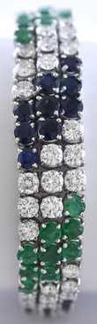 "18K white gold diamond, emerald and blue sapphire bracelet, 147 round brilliant cut stones, approx. 21 ctw., 7,25""L, 44.2 grams"
