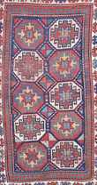 Old Oriental scatter rug with 10 medallions